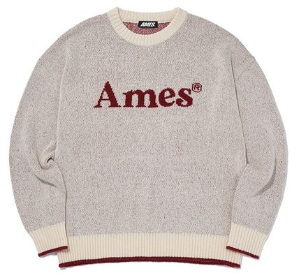 AMES-WORLDWIDE Sweaters Crew Neck Pullovers Unisex Street Style Long Sleeves 14