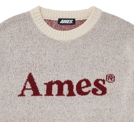 AMES-WORLDWIDE Sweaters Crew Neck Pullovers Unisex Street Style Long Sleeves 16