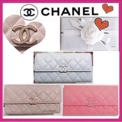CHANEL MATELASSE Unisex Calfskin Plain Leather Long Wallets