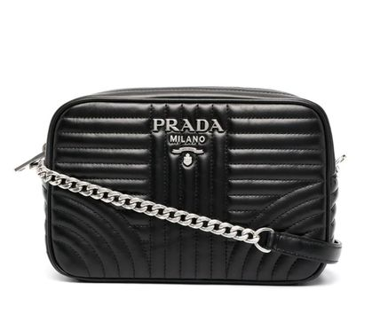PRADA DIAGRAMME Plain Leather Shoulder Bags