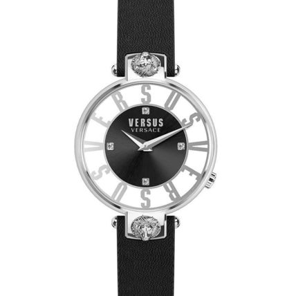 VERSACE Casual Style Leather Round Party Style Quartz Watches