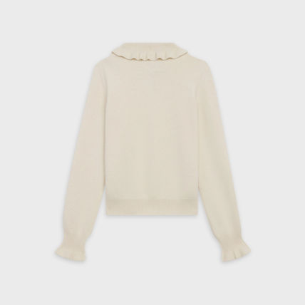 CELINE Frilled Polo-Neck Sweater In Wool And Angora