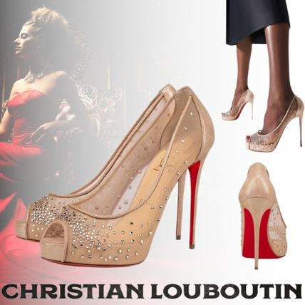 Christian Louboutin Open Toe Platform Suede Blended Fabrics Plain Leather