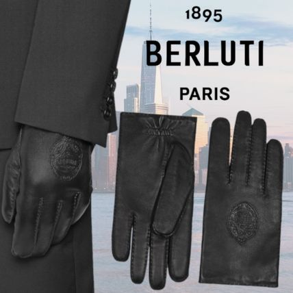 Berluti Cashmere Plain Leather Logo Leather & Faux Leather Gloves
