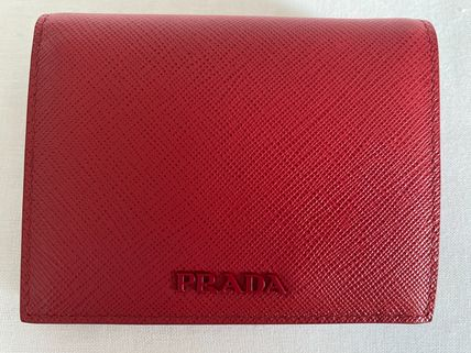 PRADA Saffiano Plain Leather Folding Wallet Logo Folding Wallets