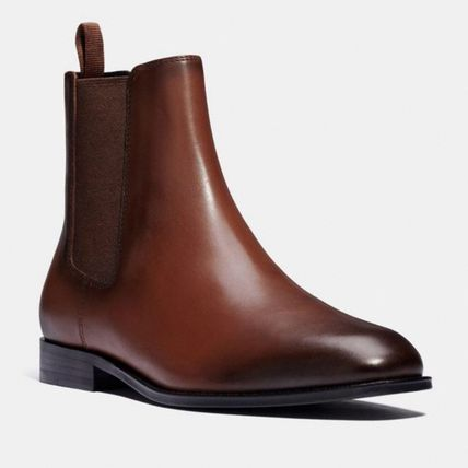 Coach Logo Plain Leather Street Style Chelsea Boots Chelsea Boots