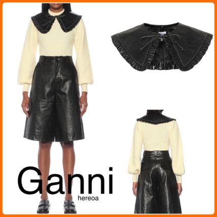 Ganni Casual Style Plain Leather Party Style Elegant Style Collars