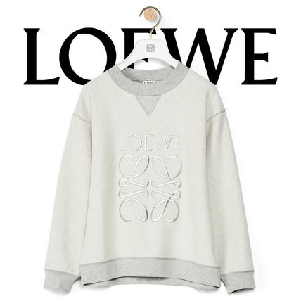 LOEWE U-Neck Long Sleeves Cotton Logo Hoodies & Sweatshirts