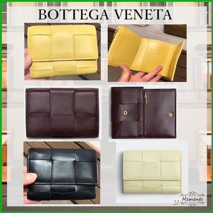 BOTTEGA VENETA Calfskin Lambskin Plain Leather Folding Wallet Small Wallet