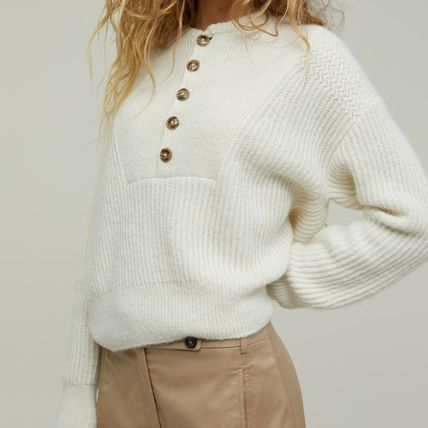 Crew Neck Short Casual Style Wool Rib Long Sleeves