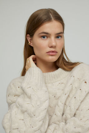 Crew Neck Cable Knit Short Casual Style Wool Rib