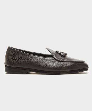Straight Tip Plain Toe Moccasin Loafers Suede