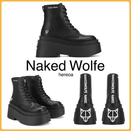 Naked Wolfe Platform Lace-up Casual Style Street Style Plain Leather