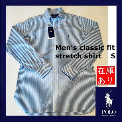 POLO RALPH LAUREN Shirts Button-down Stripes Long Sleeves Cotton Surf Style Shirts