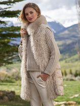 HERNO Unisex Wool Cashmere Faux Fur Studded Street Style Leather