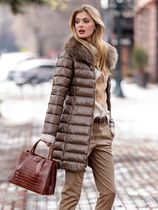 HERNO Stand Collar Coats Unisex Wool Cashmere Faux Fur Fur Studded