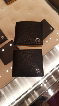 GUCCI Bi-color Leather Folding Wallet Logo Folding Wallets