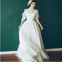 Chiffon Flared Cropped Plain Long High-Neck Puff Sleeves