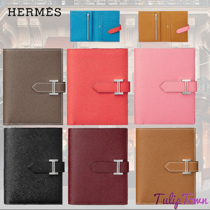 HERMES Bearn Folding Wallet Logo Calfskin Blended Fabrics Plain