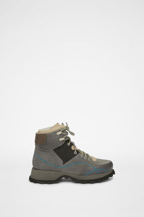 Jil Sander Mountain Boots Suede Plain Leather Logo Outdoor Boots