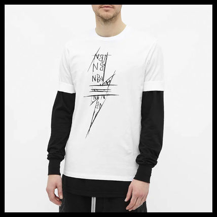 NeIL Barrett Crew Neck Crew Neck Plain Cotton Short Sleeves Logos on the Sleeves 3