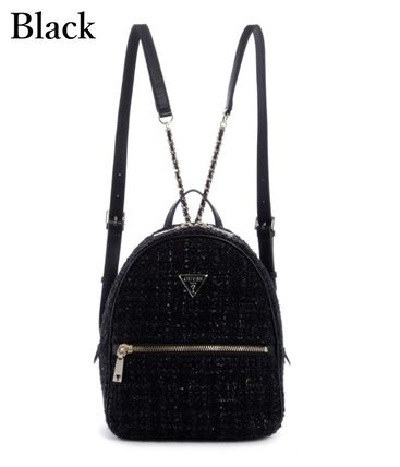 Logo Casual Style Faux Fur Plain Backpacks