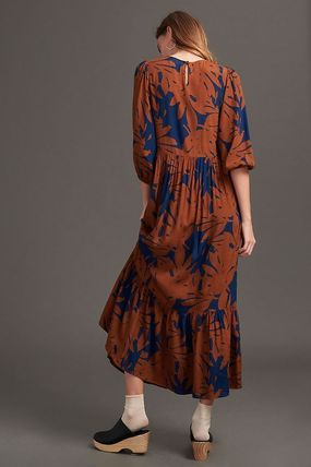 Crew Neck Long Puff Sleeves Dresses