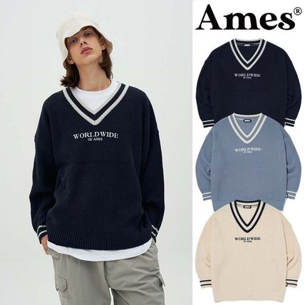 AMES-WORLDWIDE Sweaters Pullovers Unisex Street Style V-Neck Long Sleeves Oversized