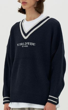 AMES-WORLDWIDE Sweaters Pullovers Unisex Street Style V-Neck Long Sleeves Oversized 5