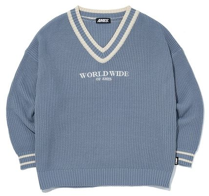 AMES-WORLDWIDE Sweaters Pullovers Unisex Street Style V-Neck Long Sleeves Oversized 11