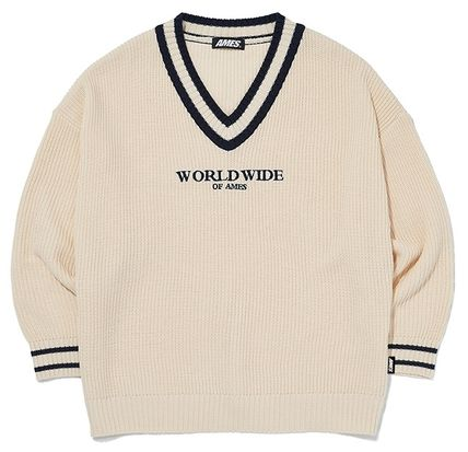 AMES-WORLDWIDE Sweaters Pullovers Unisex Street Style V-Neck Long Sleeves Oversized 17