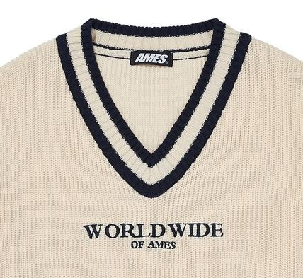 AMES-WORLDWIDE Sweaters Pullovers Unisex Street Style V-Neck Long Sleeves Oversized 19