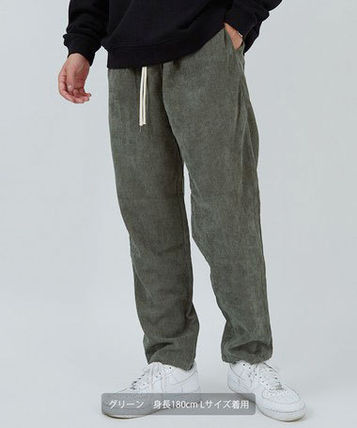 Tapered Pants Unisex Corduroy Plain Tapered Pants