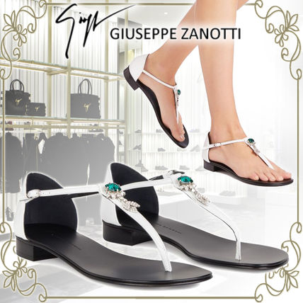 Open Toe Plain Leather Party Style With Jewels Elegant Style