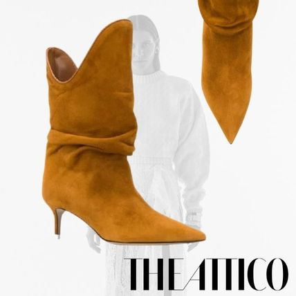 ATTICO Ankle & Booties Casual Style Plain Pin Heels Chelsea Boots Elegant Style