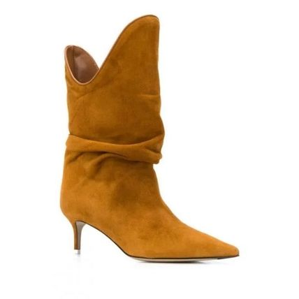 Casual Style Plain Pin Heels Chelsea Boots Elegant Style