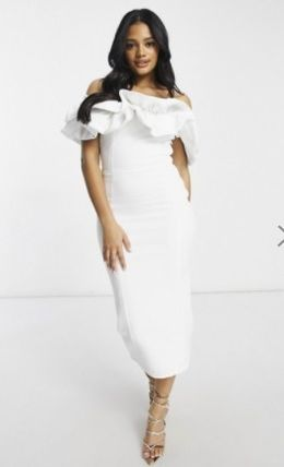 Blended Fabrics Plain Medium Midi Elegant Style Dresses