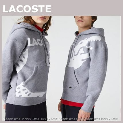 LACOSTE Hoodies Logo Unisex Sweat Long Sleeves Plain Street Style Hoodies