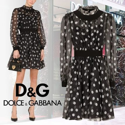Dolce & Gabbana Short Dots Silk Long Sleeves Party Style High-Neck