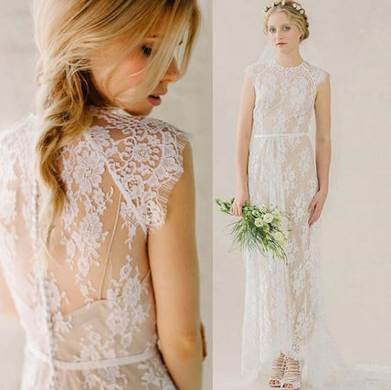 Bridal Crew Neck Flower Patterns Maxi Sleeveless Long Lace