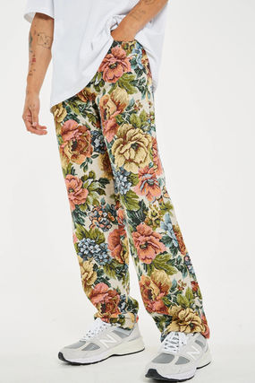 Printed Pants Flower Patterns Street Style Cotton Jeans