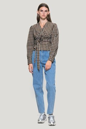 Short Other Plaid Patterns Casual Style Long Sleeves Cotton