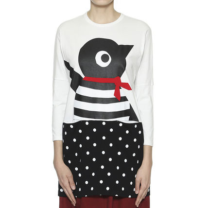 Crew Neck Stripes Dots Casual Style Long Sleeves Dresses