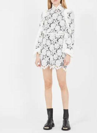 Short Flower Patterns Casual Style Long Sleeves Plain Cotton