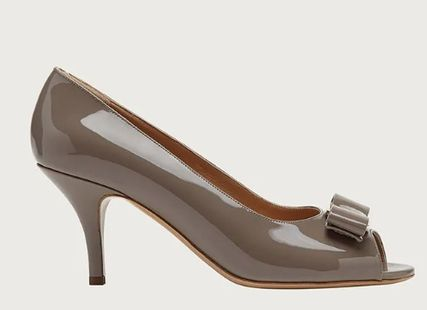 Salvatore Ferragamo Open Toe Enamel Peep Toe Pumps & Mules