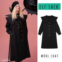 ELF SACK Stand Collar Coats Casual Style Wool Street Style Plain