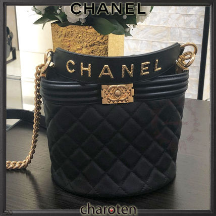 CHANEL BOY CHANEL Casual Style Calfskin 3WAY Chain Plain Leather Party Style