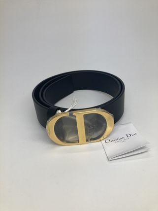 Christian Dior Logo Leather Street Style Belts