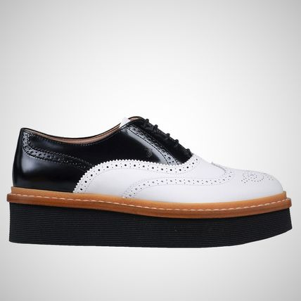 TOD'S Platform Round Toe Lace-up Casual Style Bi-color Leather