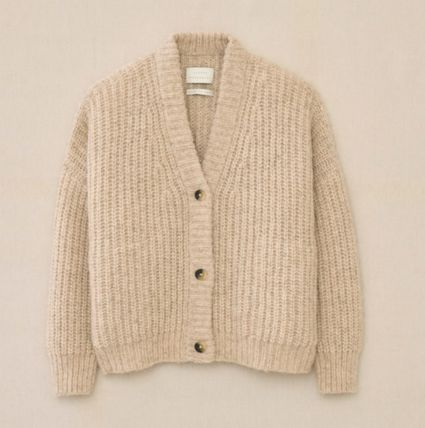 Casual Style Long Sleeves Plain Cardigans